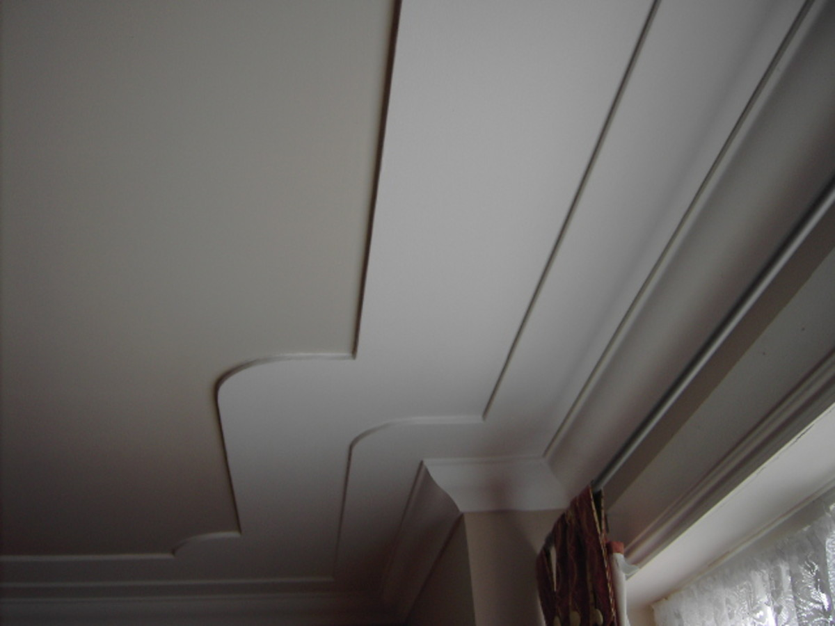 Cornice fixed onto a stepped down ceiling feature