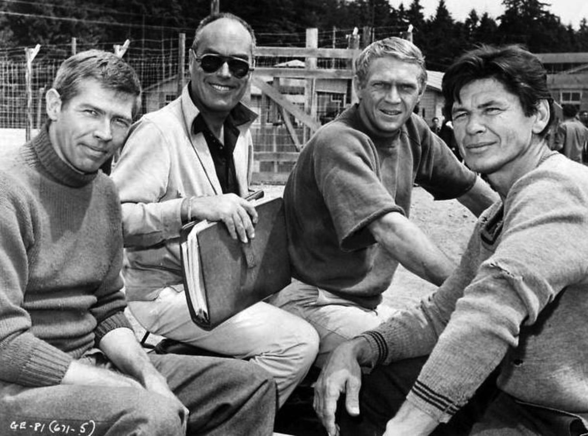 John Sturges with James Coburn, Steve McQueen and Charles Bronson