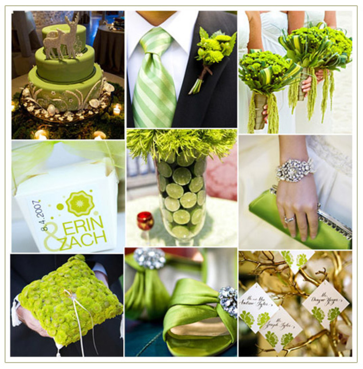 Lime green and white wedding ideas: wedding color themes