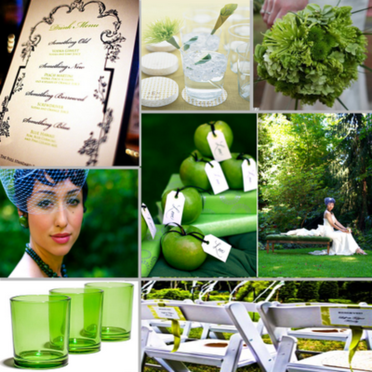 Lot of greenery (tree, grass, shrubs and green flowers bouquets are a natural choice to incorporate into a lime green and white themed wedding receptions. The wedding photos will be gorgeous! Photo credit: Tried and True Weddings via 3bp.blogspot.com