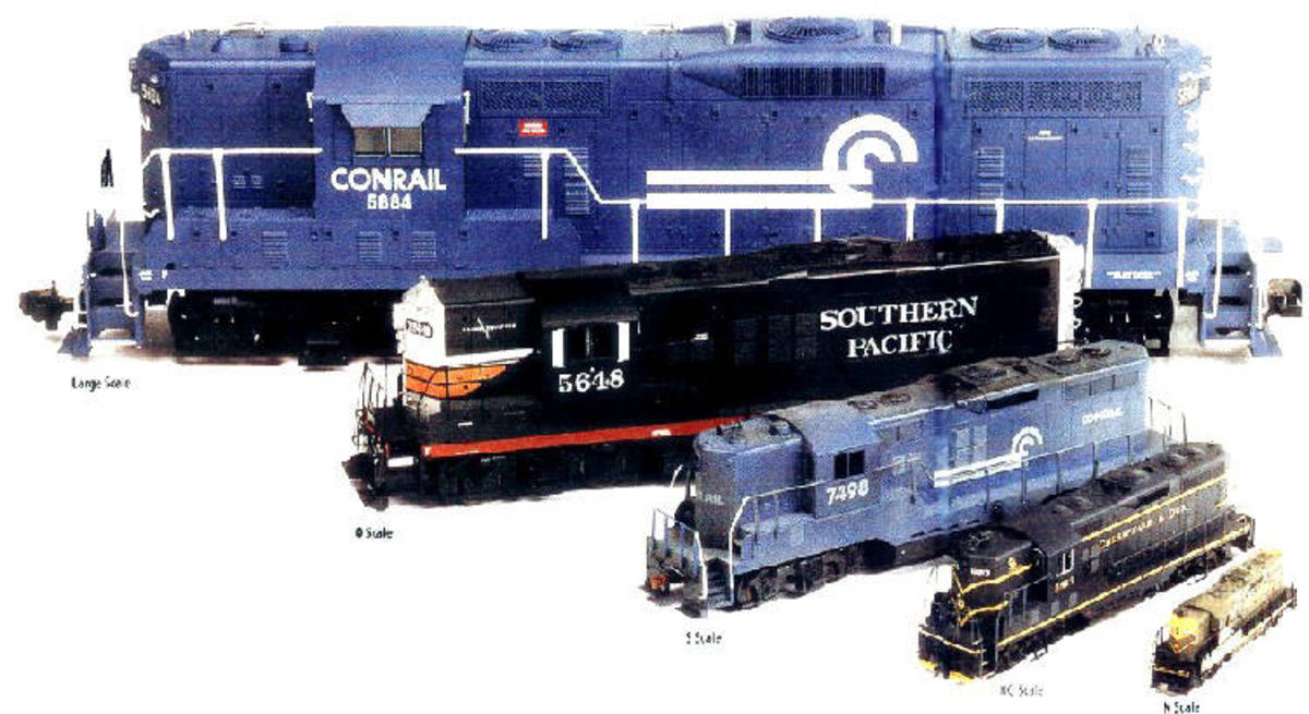 The S-scale diesel is the blue one in the middle.