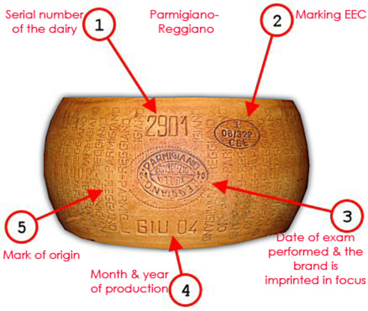 Parmigiano-Reggiano also known in English as Parmesan is a hard granular cheese, cooked but not pressed, named after the producing areas near Parma, Reggio Emilia, Modena, and Bologna.