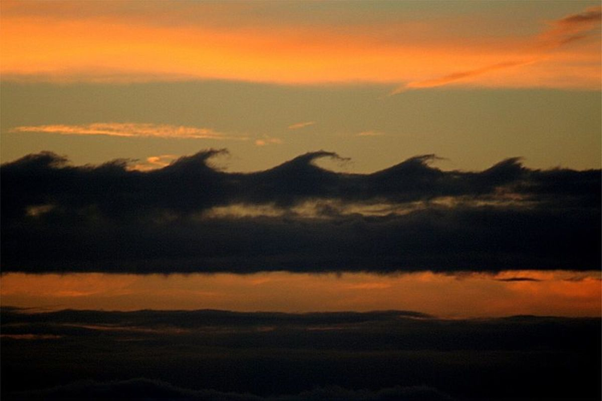 Kelvin Helmholtz clouds, especially pretty at sunset.