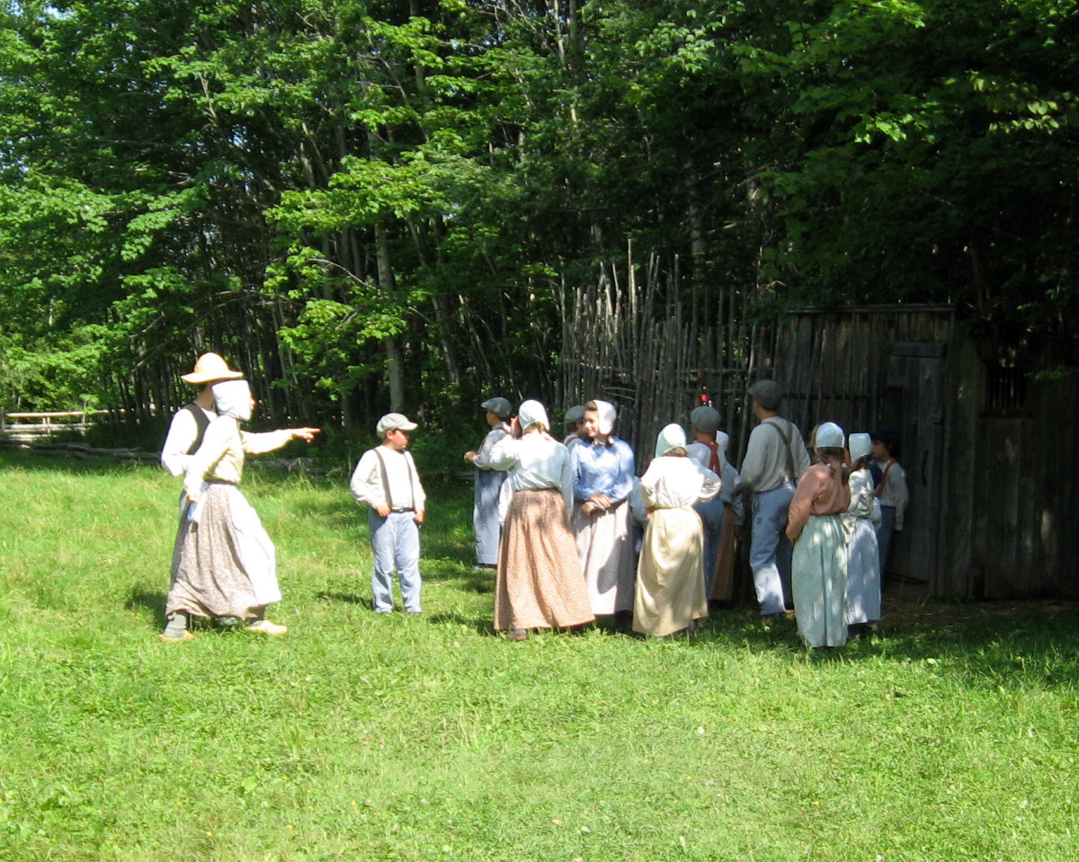 Museums host school children for a day to learn about life long ago.