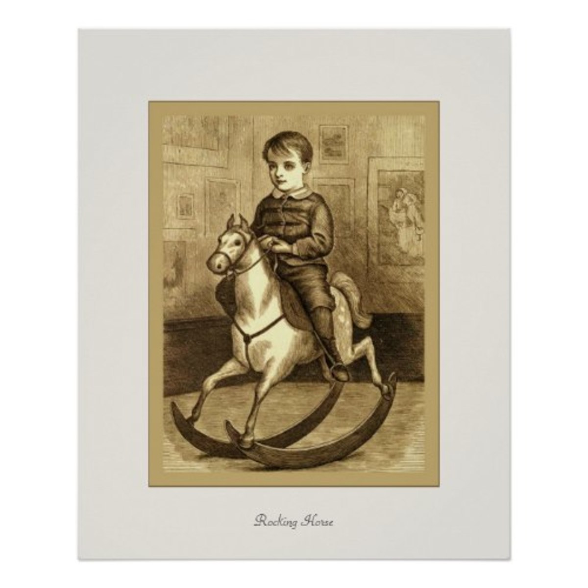 The print above can be ordered from Zazzle: Rocking Horse ~ Vintage Fine Art Print by VintageFactory