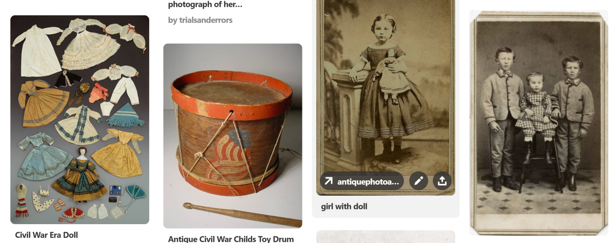 My pinboard on Pinterest about Civil War Childhood.