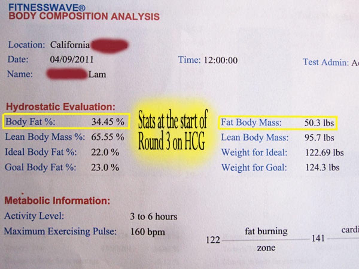 Hydrostatic Body Fat Testing Results- Before R3 HCG