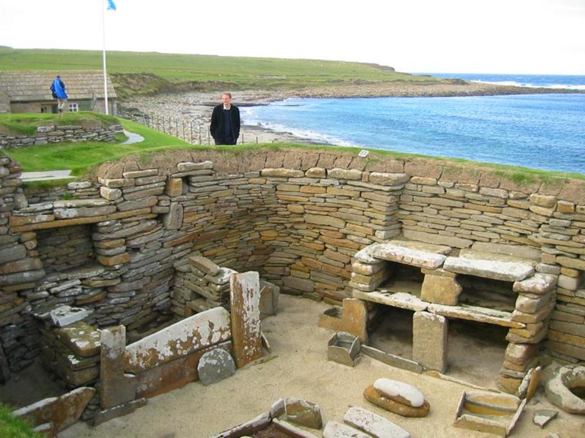 One of the prehistoric houses found at Skara Brae in Orkney: the Durringdon Walls houses were built to this exact same layout.