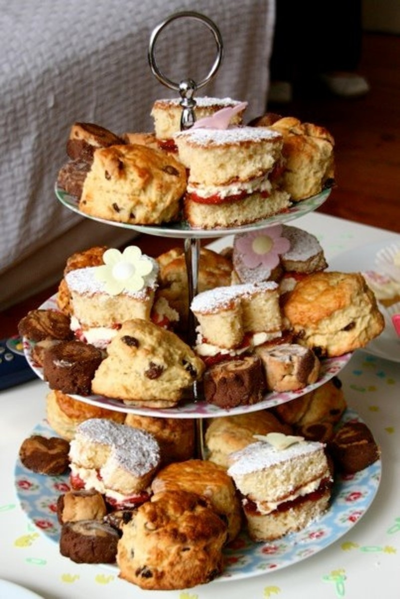 Home made scones, victoria sponge cakes, chocolate biscuits and petit fours.