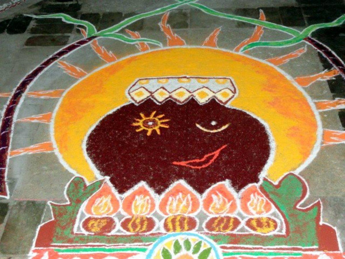 Rangoli Kolam design for Pongal celebration
