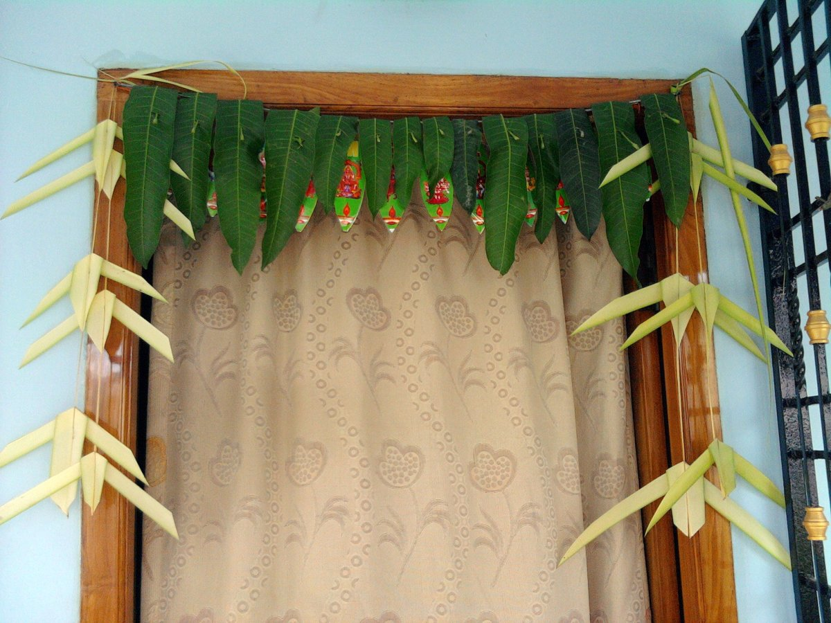Toranam, which is fresh mango leaves festoon placed at doorways.