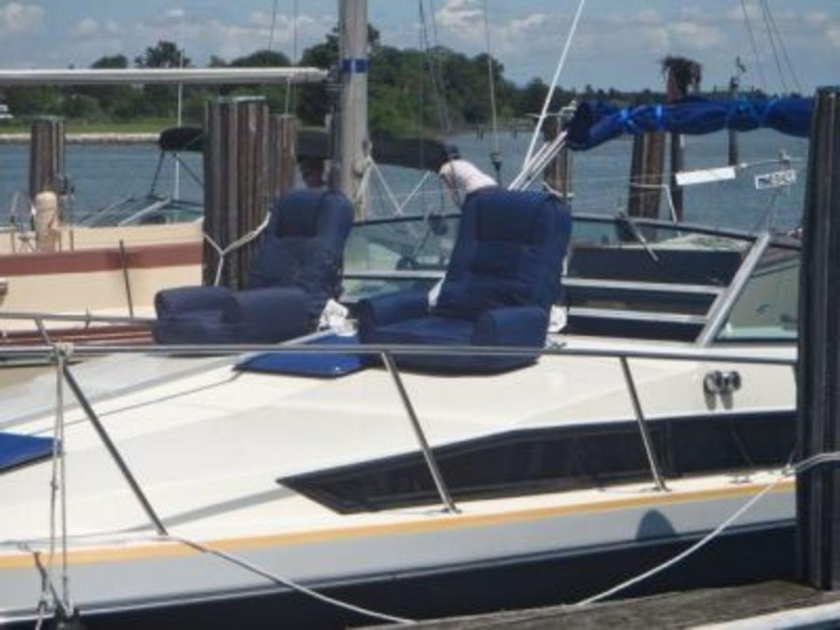 My favorite seating on Namaste, John's sailboat.