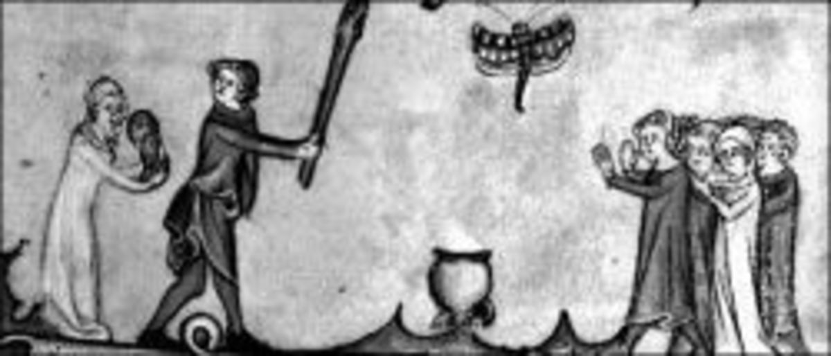Details of a 14th century manuscript depicting stoolball