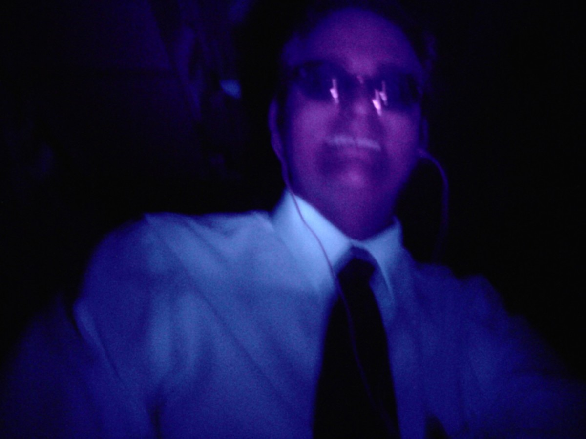 I'm either at a rave or playing with an Ultraviolet flashlight in the dark.  Miles from town.  Where nobody can hear you scream.