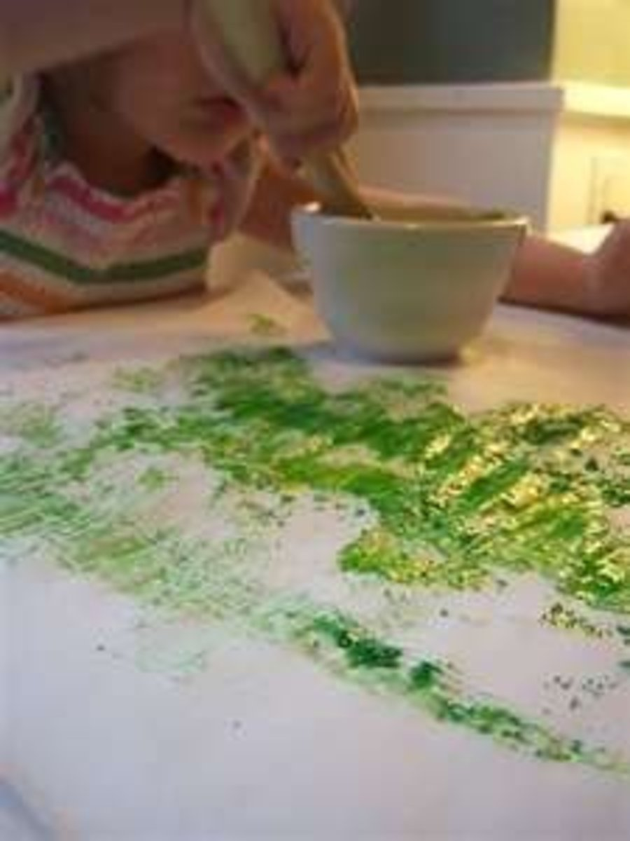 Painting with egg yolk paint