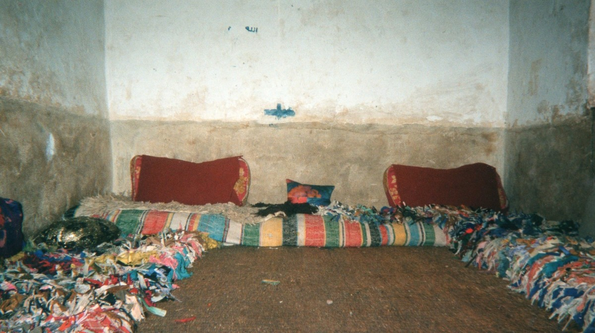 Inside a Berber house - this area is used for both sitting and sleeping, by the whole family