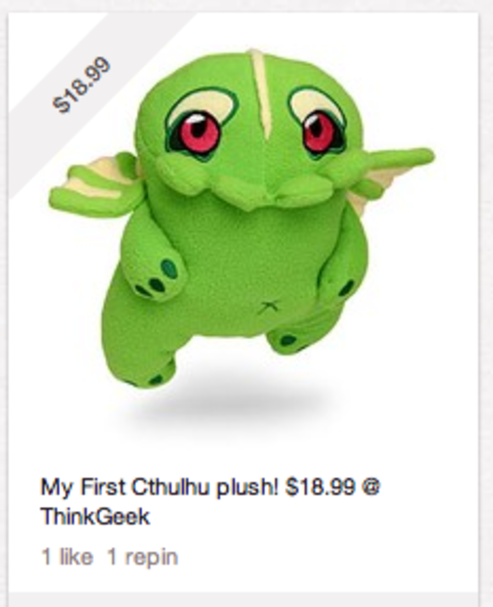 Fun Tip #1:  Add a price in the description and the pinned image will include a diagonal banner with the price.  My Little Cthulhu is pretty reasonable!