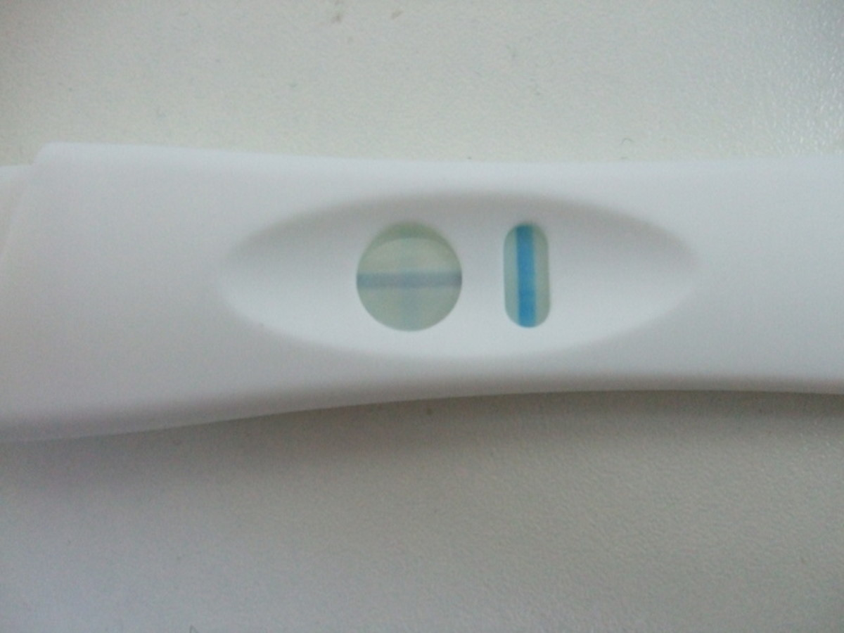 Pregnancy test on the day my period was due.