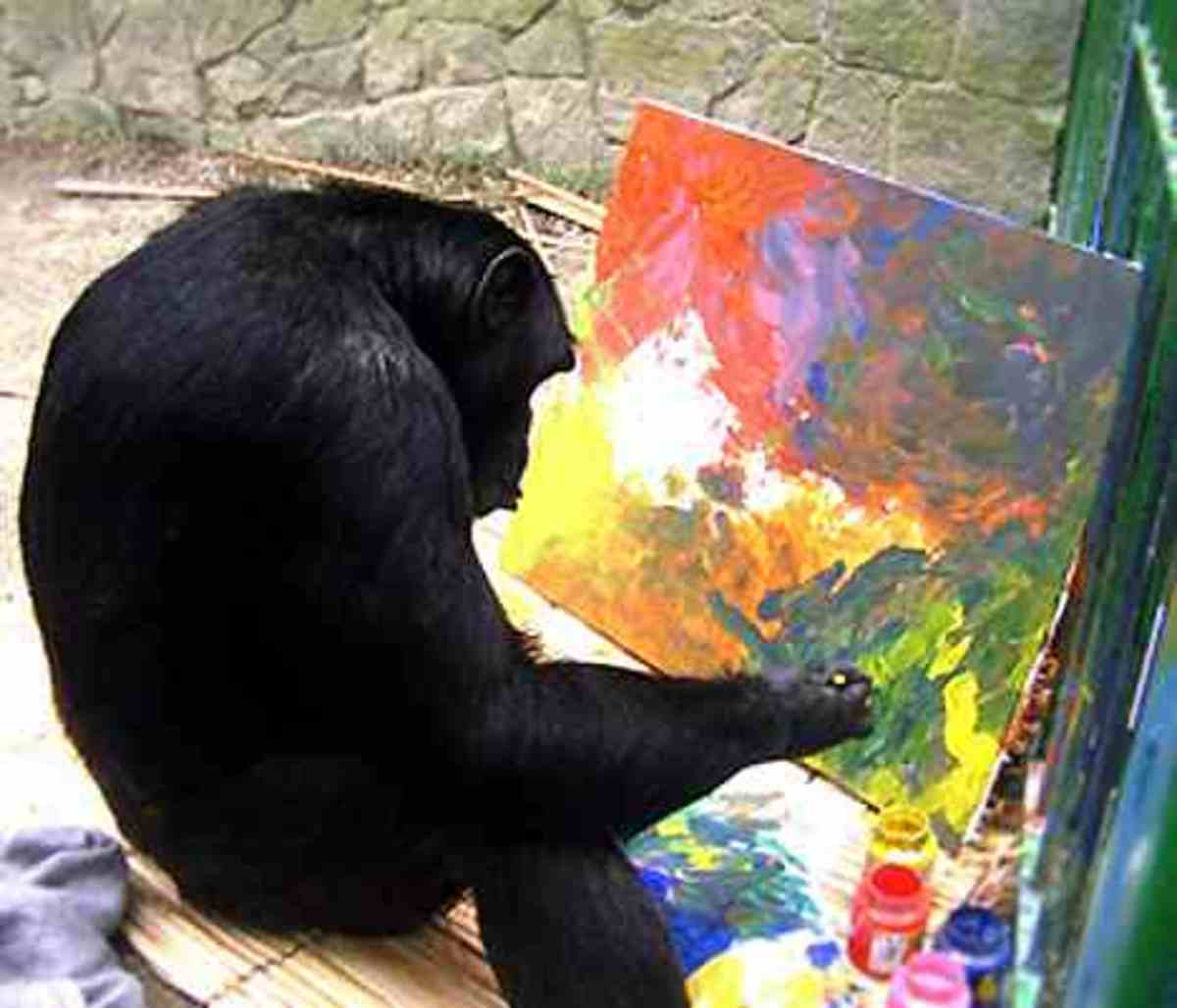 Jimmy the Painting Chimpanzee  Sadly Jimmy's story is a sad tale. To read the full story click on the link .