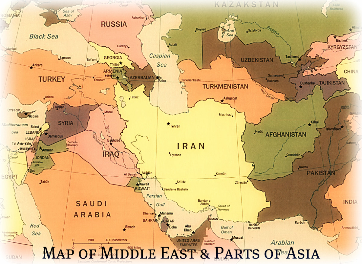 Map of The Middle East & Parts of Asia