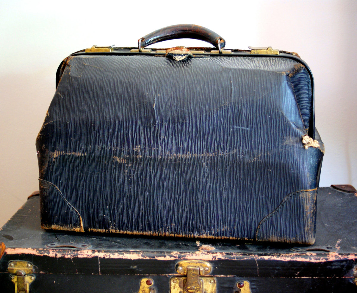 Early doctors carried all their tools in a bag like this.