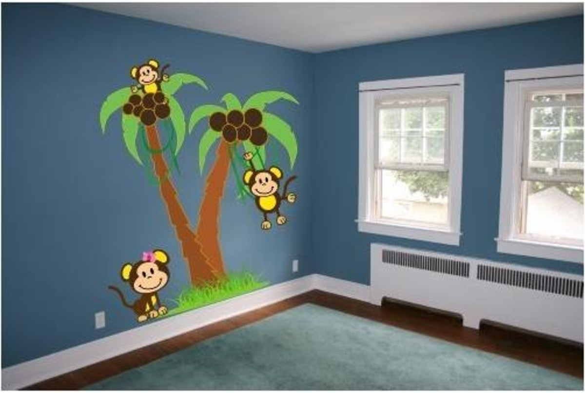 Palm Trees with Monkeys Wall Decal