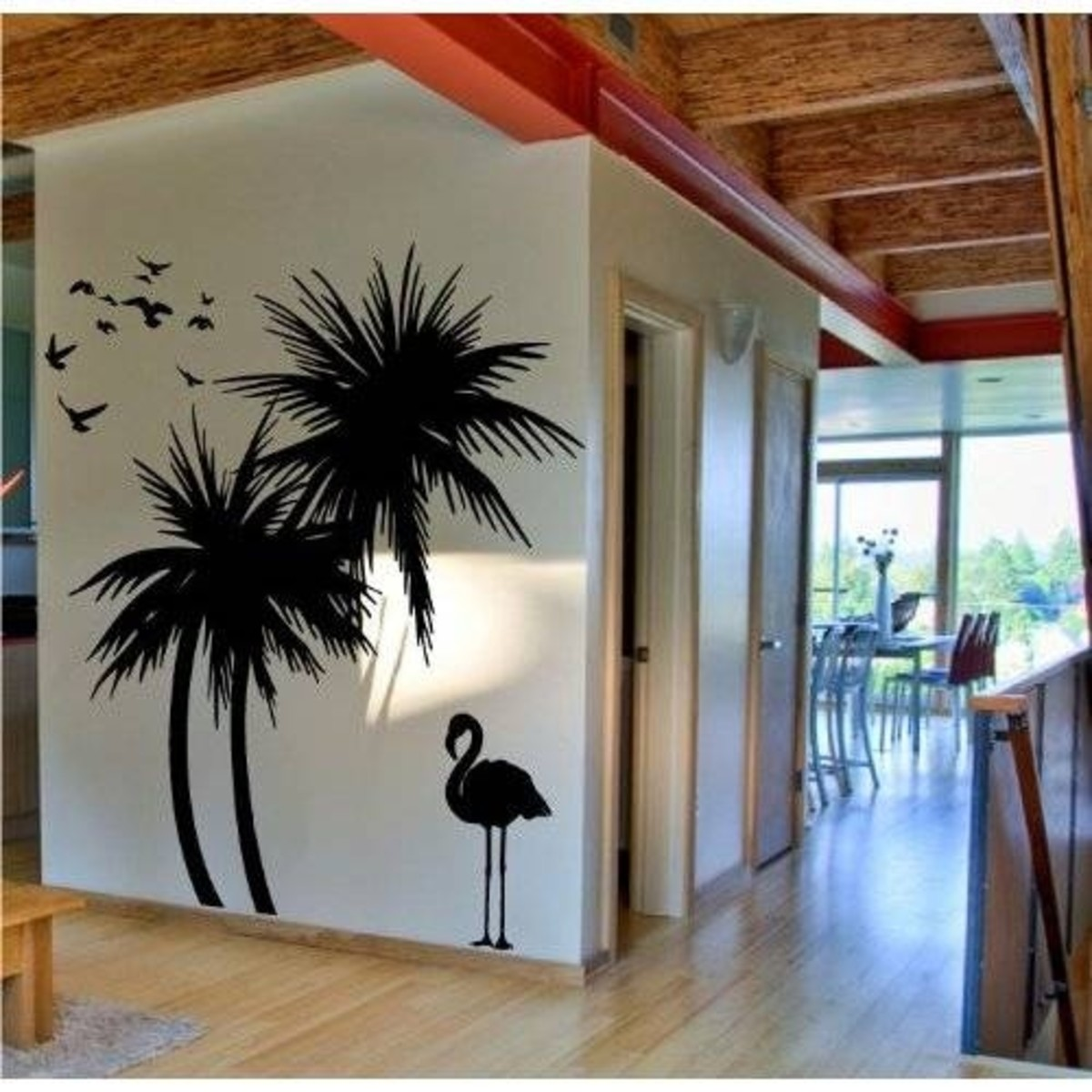 Palm Trees 6 Ft Wall Decal with Flamingo and Birds