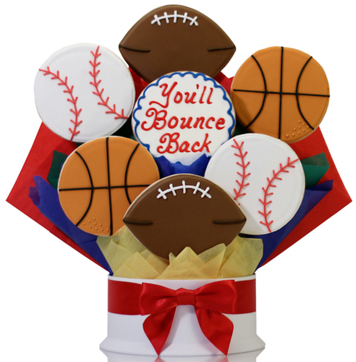 When you need a little pick-up for the sports lover in your life, consider a basket or bouquet of cookies with a sports theme.