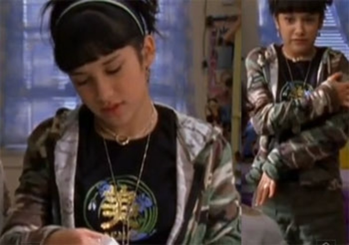 Miranda sometimes fuses a bit of a hip hop vibe to her outfits like this one, where she wears a thick bling and camo jacket.