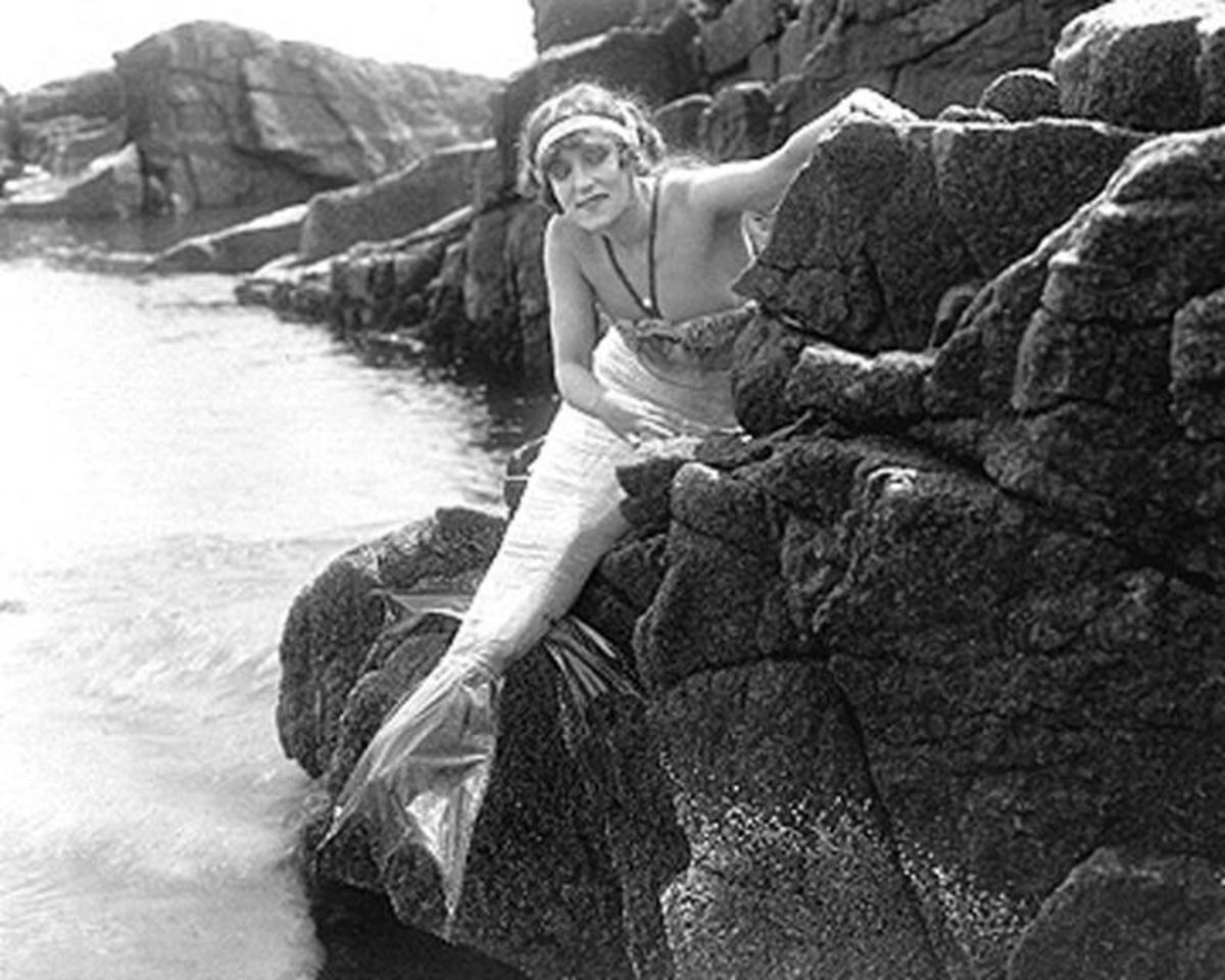 A mermaid from the early 1900s in the earliest days of film-making.