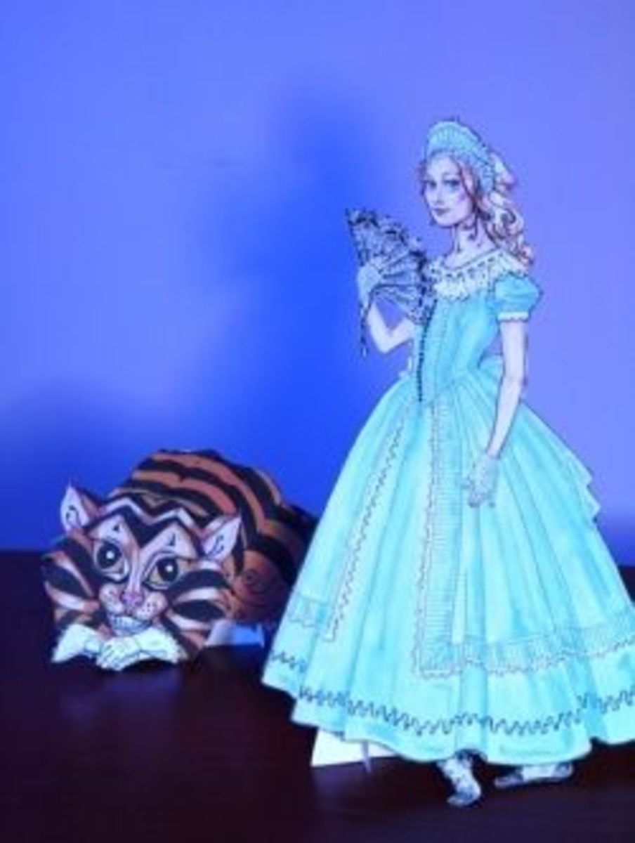 Alice in Wonderland paper dolls from Dover book - click to buy. Image copyright of author