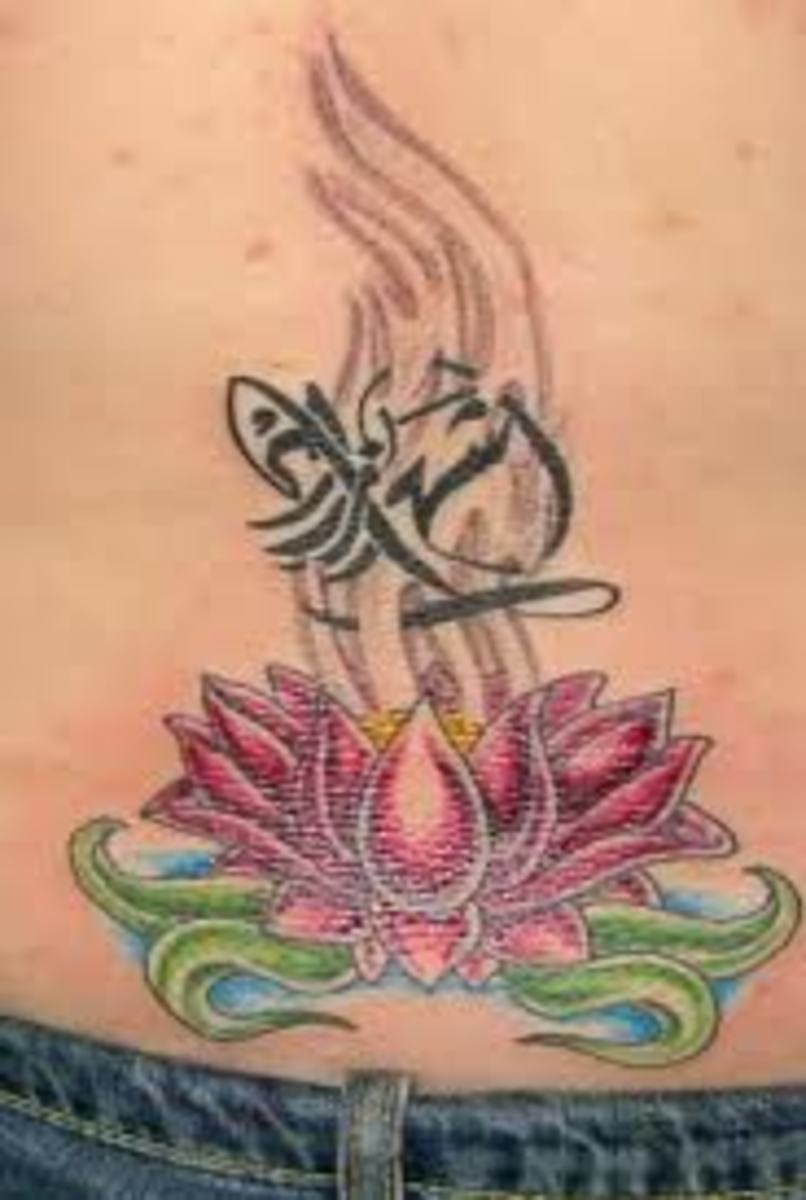 Lotus and Zodiac lower back tattoo design