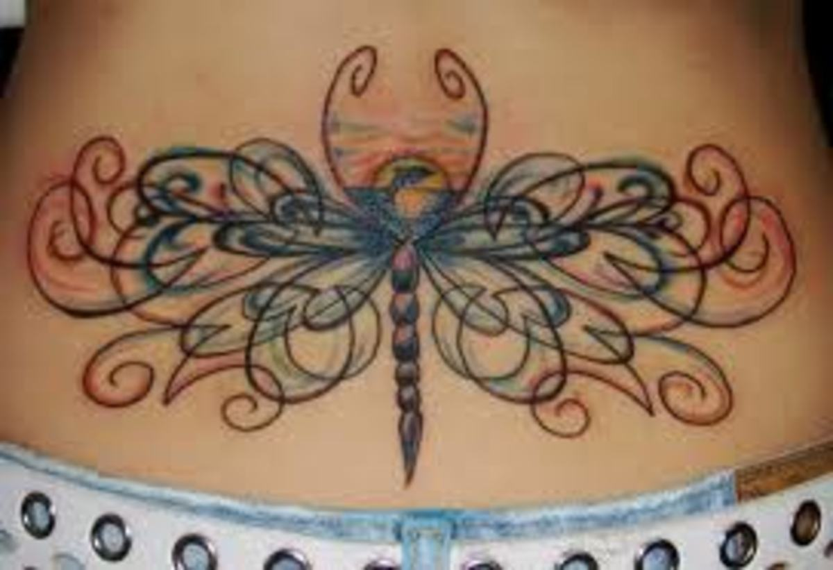 One of the best dragonfly lower back tattoo I've ever seen
