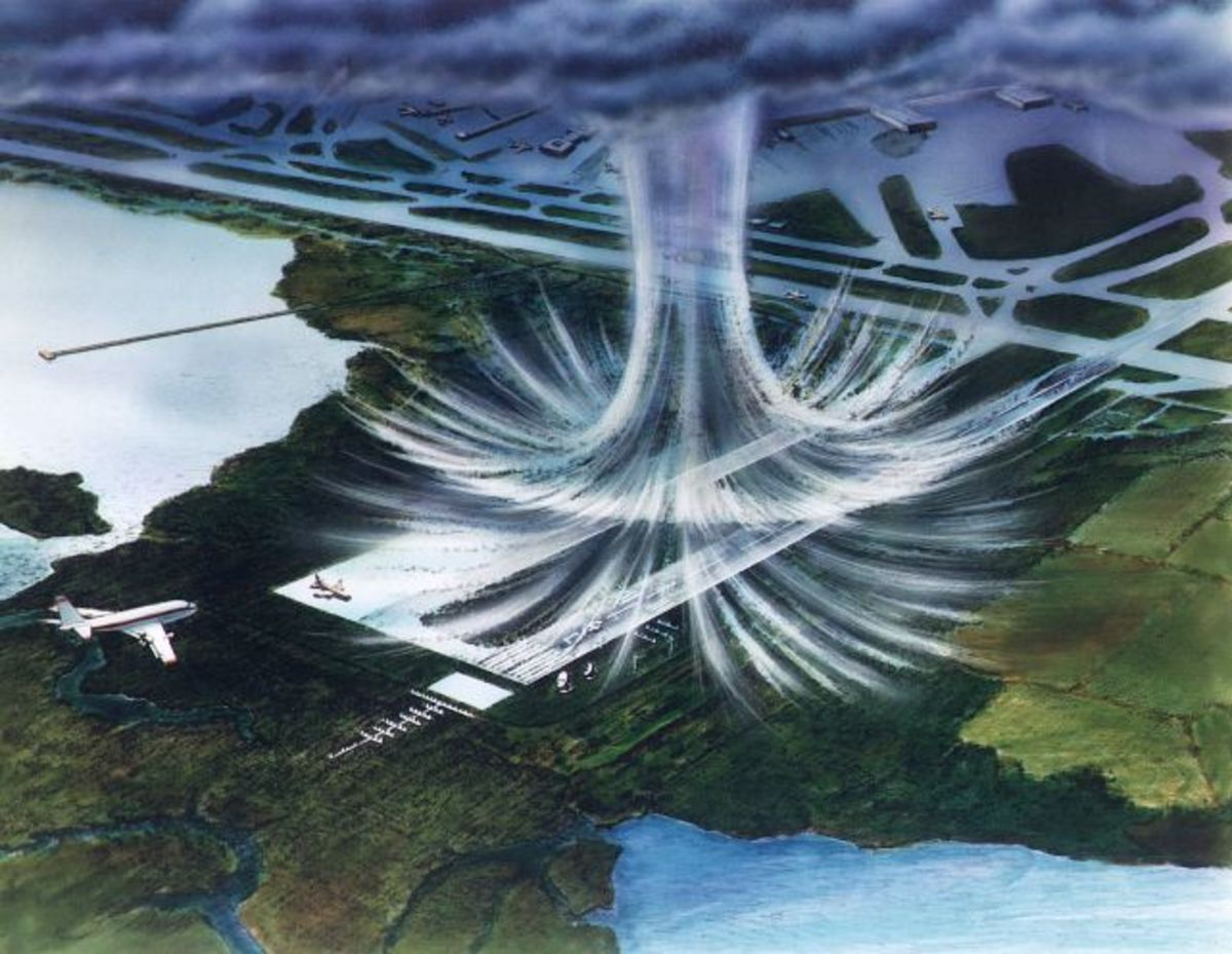 Image of a microburst downdraft on land