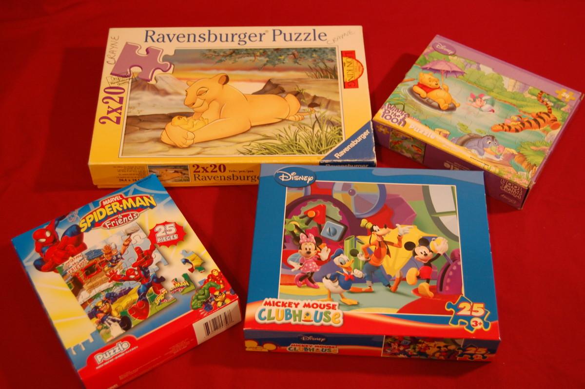 20- to 25-piece interlocking puzzles.