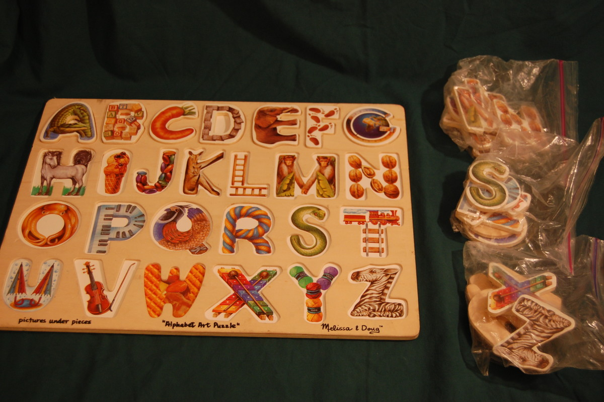 Large Melissa & Doug non-connecting alphabet puzzle.  Separate letters by row for younger children.