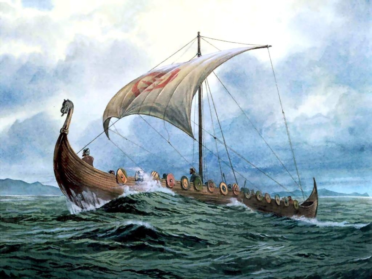 The popular conception of a Viking longship. In truth the shields would have been taken off the sides - they would only be visible on review, in a harbour, for identification of the men sailing a ship