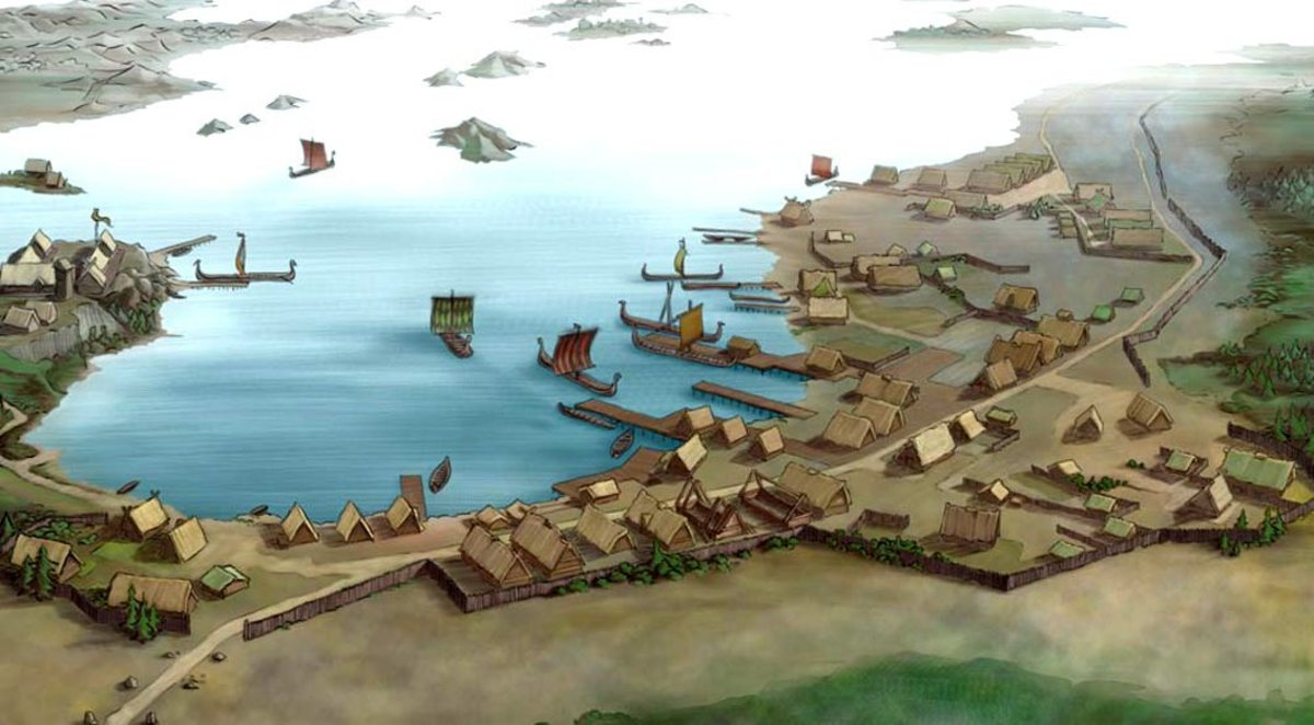 The trading haven of Kaupang in southern Norway. The haven south of Oslo saw custom from as far away as Arabia, trading in silver Dirhams