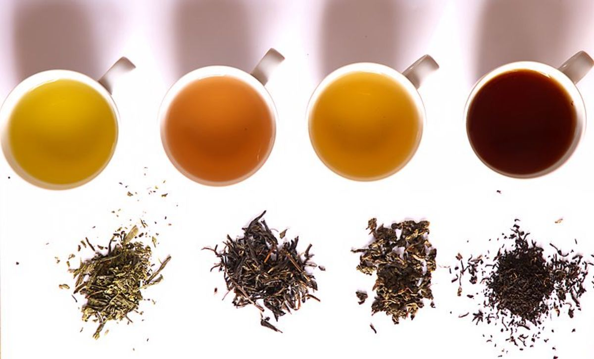 from left, green, yellow, oolong, black