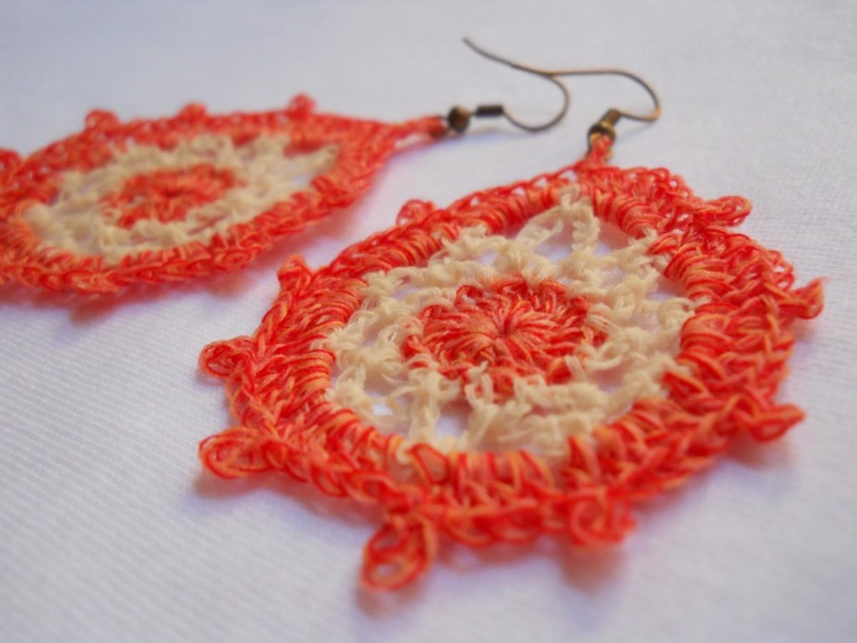 Crochet Teardrop Earring #3