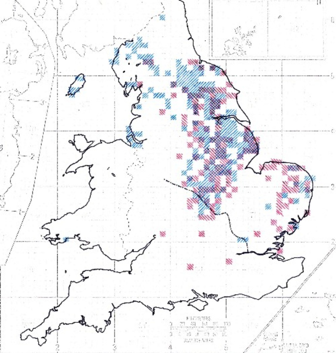 Distribution of Danish and Norse place names in Eastern and North-western England, endings: 'by', 'toft', 'thorpe' and 'thwaite' are evident in any search of a road atlas in these parts. By rights SW Wales should have a coloured square, look at a map