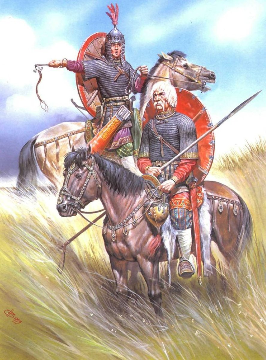 Whilst the Danes and their western cousins struck out west, to the east the Svear - Swedes - sought their fortunes amongst the Slavs as 'policemen' and 'guardians'. Here's a pair of mounted Rus or Rhos warriors survey the scene on the open Steppe
