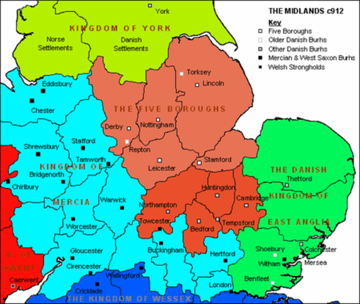 Danish division. Eastern Mercia,  East Anglia and Northumbria north to the Tees came under Danish rule in the 9th Century after agreement between Guthrum and Aelfred. Colonisation had reached the Anglo-Saxon kingdoms.