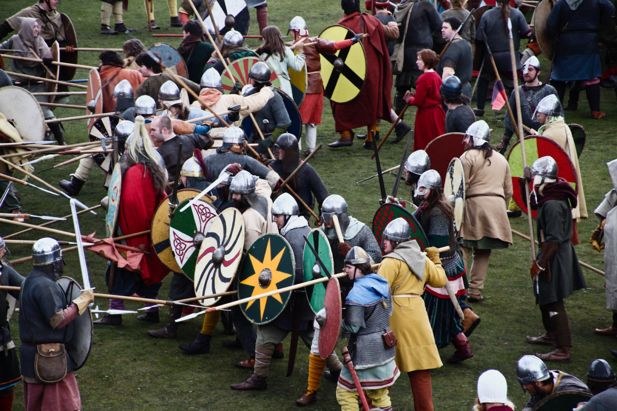 Battle scene from the finale of the Jorvik Viking Festival, York, 2013 and...