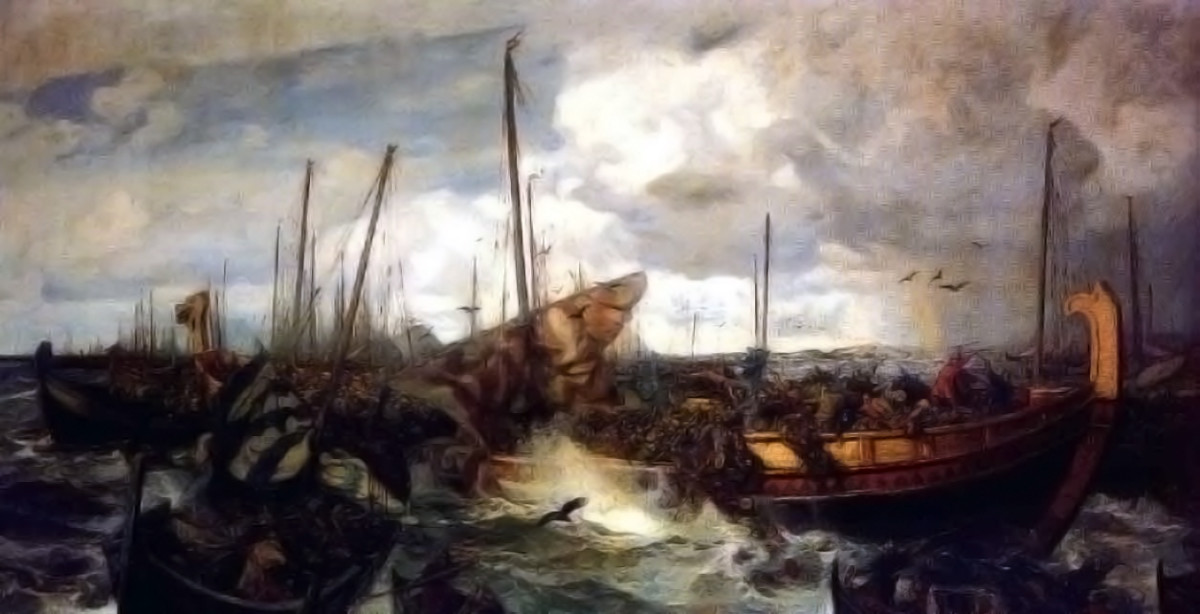 The Jomsviking fleet at Svold, where Olaf Tryggvason met his end after trying to Christianise Norway by the sword