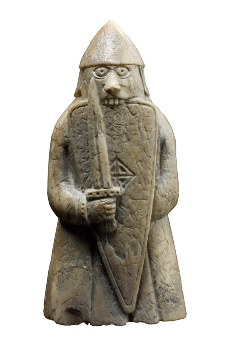 Lewis chessman berserker bites his shield -  this is the accepted notion of the berserker,  who brought himself to fever pitch before a battle and afterwards was left shaking like a leaf (a bit like your heavy metal rock stars of the 1970s)