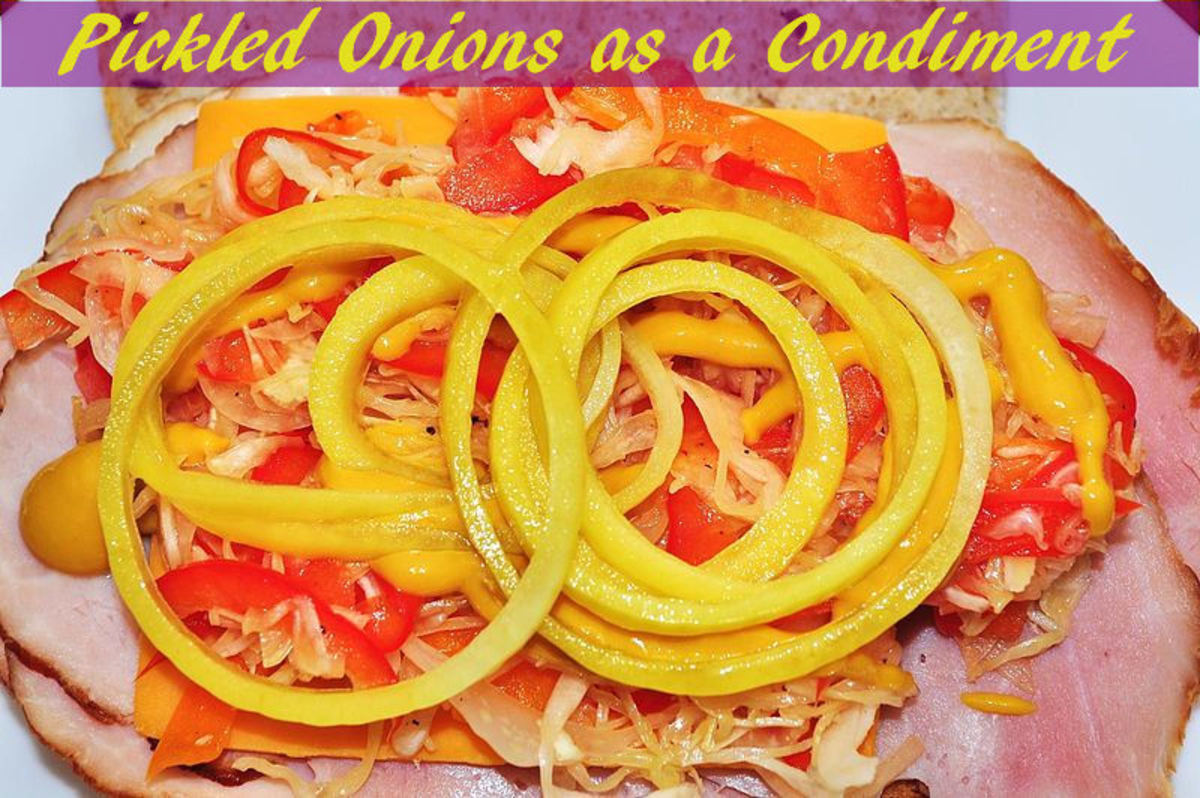 Sliced pickled onions are used as a condiment for a sandwich