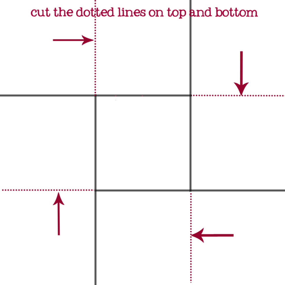 guide for where to cut on both pieces