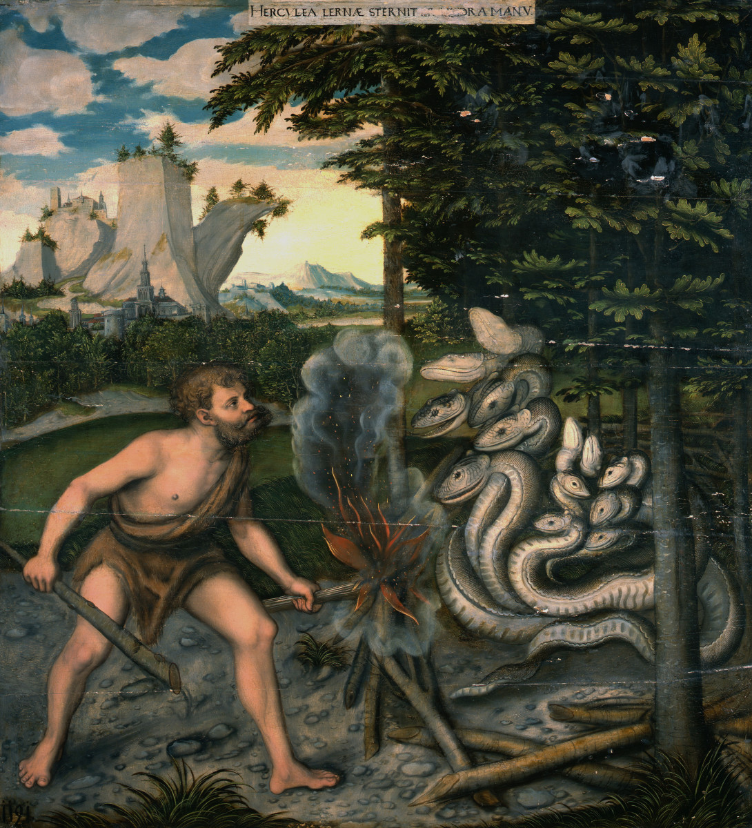 Hercules and the Hydra (after 1537) by Lucas Cranach (1472-1553). The second of the 12 Labours of Hercules was to kill The Lernean Hydra.