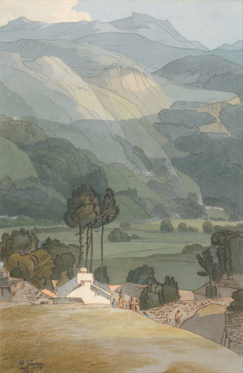 Ambleside (1786) by Francis Towne Watercolor and brown and gray ink over graphite on medium slightly textured cream laid paper